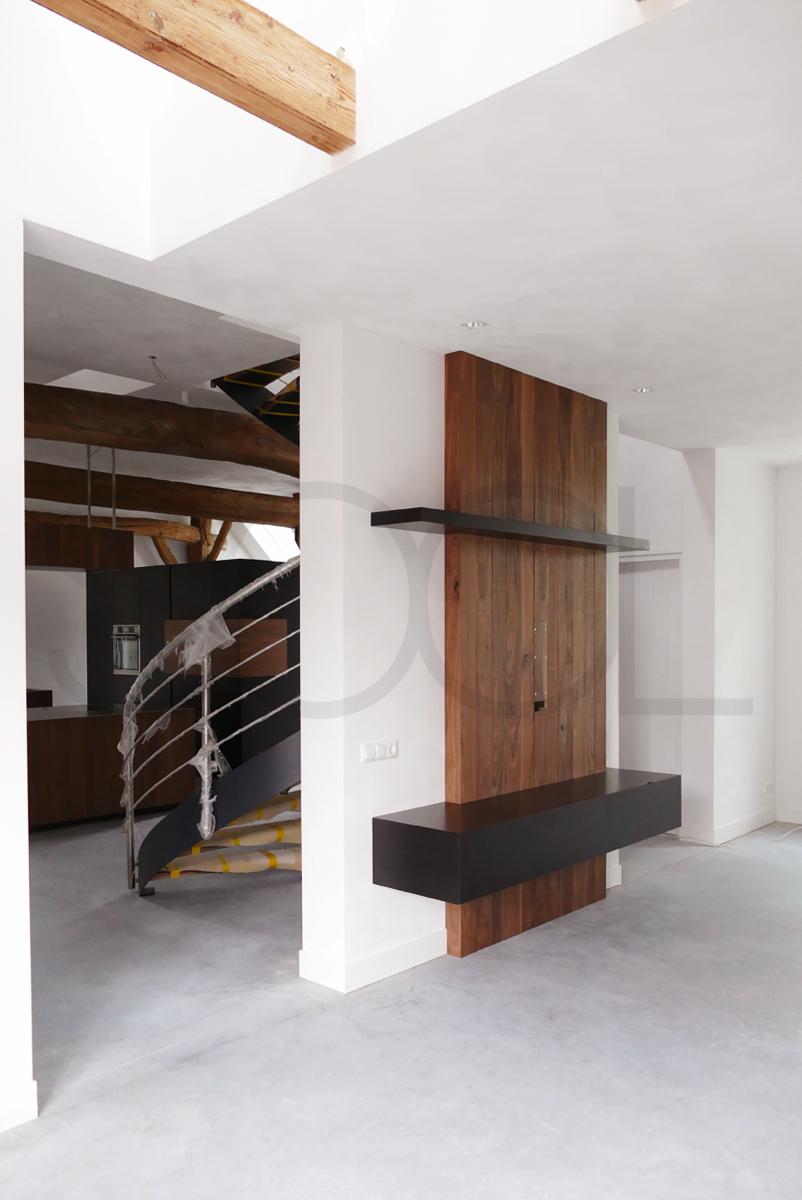 TV meubel notenhout zwart MDF