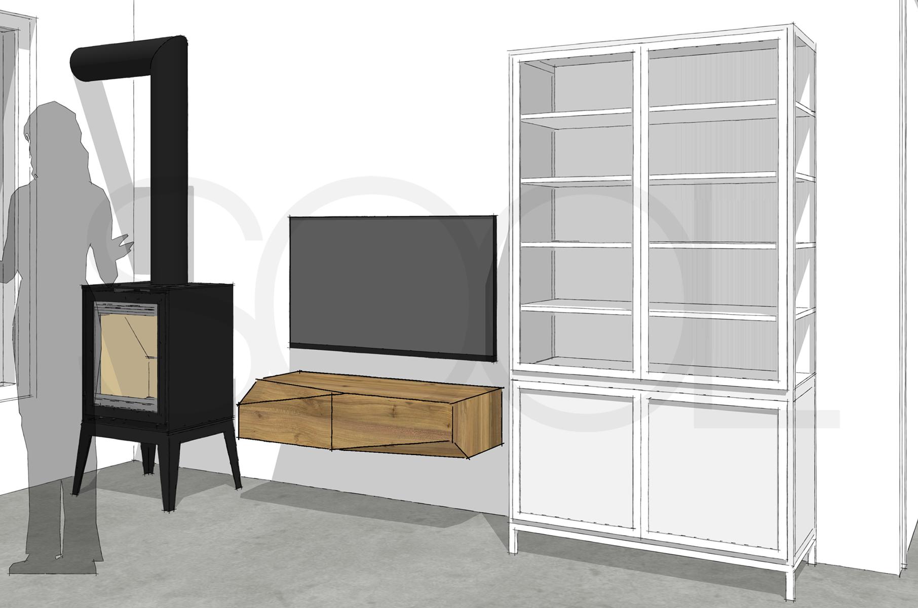 TV-meubel iepenhout
